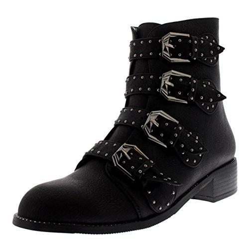 givenchy scarpe donna Donna Combattere Cinghiapy Tallone di Blocco Militare Punk Esercito retrò Caviglia Stivali - Nero - UK3/EU36 - LY0080