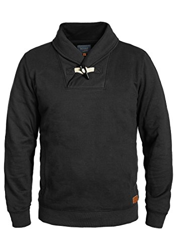 BLEND Aleko hommes sweat-shirt pull sweater avec col châle en mélange de coton de qualité supérieure - Noir - Medium