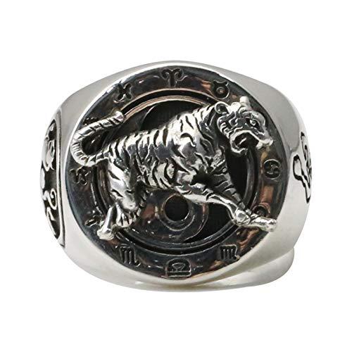 Anwaz - Anillos de plata de ley 925 para hombre, diseño de tigre, color blanco, talla 58 (18,5), color blanco
