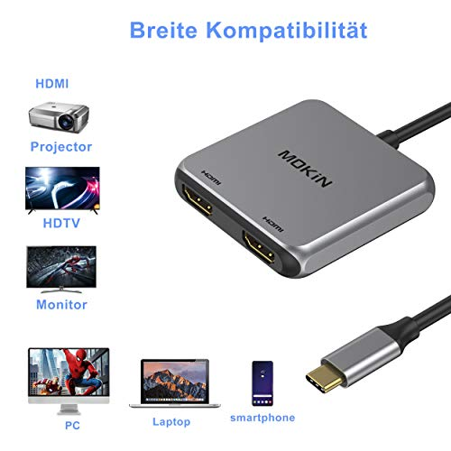 MOKiN USB C zu Dual HDMI Adapter 4K@60Hz unterstützt SST/MST, Typ C zu HDMI Konverter für MacBook Pro 2020/2019/2018, MacBook Air 2020/2019/2018, LenovoYoga 720/730, Dell XPS 13, Surface Book 2 usw.