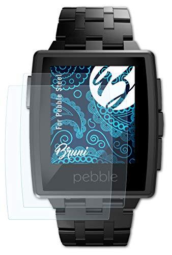 Bruni Schutzfolie kompatibel mit Pebble Steel Folie, glasklare Bildschirmschutzfolie (2X)
