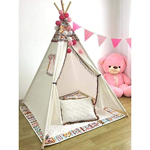 YJTGZ Kids Teepee Tent - Indoor/Outdoor Toddlers Play Tent House,4 Wooden Poles Tipi Tent Cotton Canvas Triangle Tent Independent space Children's bed Parent-child interaction (C-With cushion)