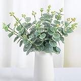 Whaline 20 hojas artificiales de eucalipto, tallos artificiales de color verde, plantas de plástico para decoración