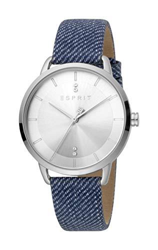 Esprit ES1L215L0015 Macy Blue Silver Uhr Damen-Uhr Leder-Armband Edelstahl blau