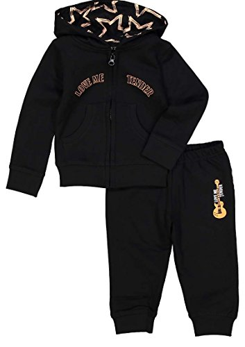 SILLY SOULS Love Me Tender Infant Girls Coton Sweatsuit Corail Noir - Noir - 24 mois