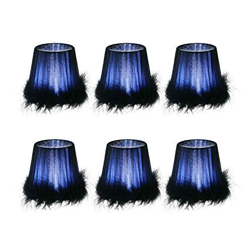 DULEE 6er Set Top 3,3 x Höhe 4,3 x Unterseite 4,7 Zoll Federclip-Lampenschirme Kerze Lampenschirme Klein Lampenschirm Kronleuchter Lampenschirm, Dunkelblau