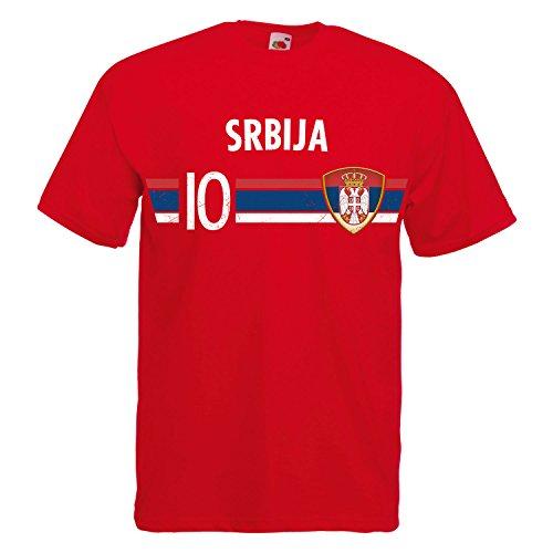 Fußball WM T-Shirt Fan Artikel Nummer 10 - Weltmeisterschaft 2018 - Länder Trikot Jersey Herren Damen Kinder Serbien Srbija L