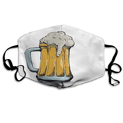 Atmungsaktive Premium Gesichtsschutzhülle,Bier Gesichtsdekorationen Vintage Alkohol Trinken Bierglas Mit Bubble Doodle Für Party St. Patrick's Day Frauen Männer Anti Wind Staubschutz Schutzhülle Für