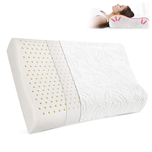 Memo's Cervical Latex Pillow for Neck Pain, Contour Pillows for Sleeping, Ergonomic Orthopedic Pillow with Luxury Washable Pillowcase, Neck Support Pillow for Side Sleepers, Back/Belly Sleepers