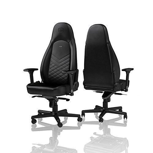 noblechairs ICON Gaming Stuhl - Bürostuhl - Schreibtischstuhl - PU-Kunstleder - Inklusive Kissen - Schwarz