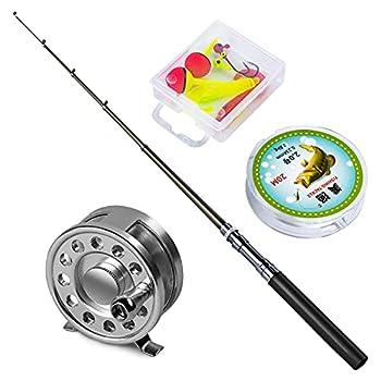 Yogayet Mini Pocket Ice Fly Fishing Rod and Reel Combos Set Aluminum Alloy Pen Fishing Pole 38   Sea Saltwater Freshwater Kit Black