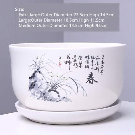 HONIC Vaso per Fiori in Ceramica con Vassoio all'Ingrosso Grande Vaso per Bonsai Creativo Vaso Piante grasse Interno Balcone vasi Verde: 15 Stili, Grande