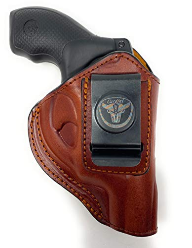 Cardini Leather USA – IWB Brown Leather Holster - Right Handed - Concealed Carry - for S&W J Frame, S&W Models 442 and 642 Airweight, 637, 638, 640 and Other Snub Nose Revolvers in .38 Special