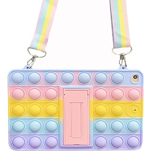 ESSTORE Funda para iPad Pro 11 pulgadas 2021, Push Bubble Sensory Fidget Toy Case Stress Anxiety Relief Cover con soporte y correa, Rainbow
