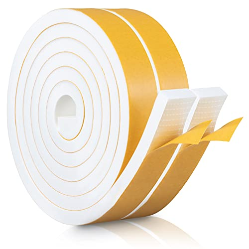 eletecpro Weather Stripping Door Seal Strip with Self Adhesive Foam Tape Soundproof Door Draft Stopper for Doors Windows and Shower Glass Gaps (1in3/8in13FT)