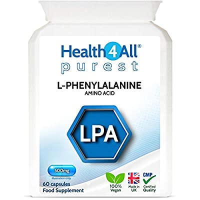 L-Phenylalanine 500mg 60 Capsules (V) . Purest- no additives for Mood, Memory, Attention and Thyroid. Vegan Natural L- form. Made by Health4All