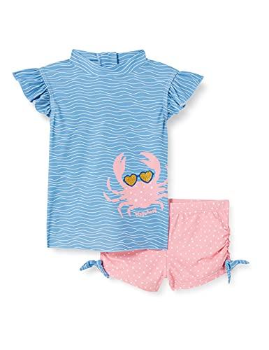 Playshoes Mädchen Bade Krebs Schwimmshirt-Set, blau/pink, 74/80