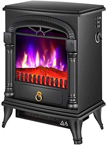 J & J Chimenea eléctrica, Independiente portátil Chimenea eléctrica, calefacción Calentador, Simulación de 3-Color de la Llama de simulación,Negro