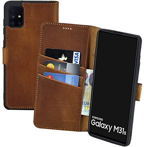 Suncase Book-Style Hülle kompatibel mit Samsung Galaxy M31s Leder Tasche (Slim-Fit) Lederhülle Handytasche Schutzhülle Hülle mit 3 Kartenfächer in antik-Coffee