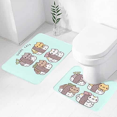 Alfombrilla de baño antideslizante de 2 piezas, diseño de gatos sushi