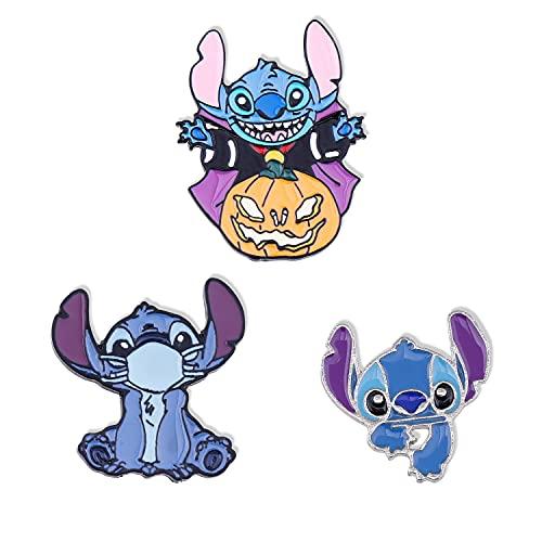 Stitch Cartoon Brooch 3pcs Stitch & Lilo Enamel Lapel Pin Gifts for Kids...