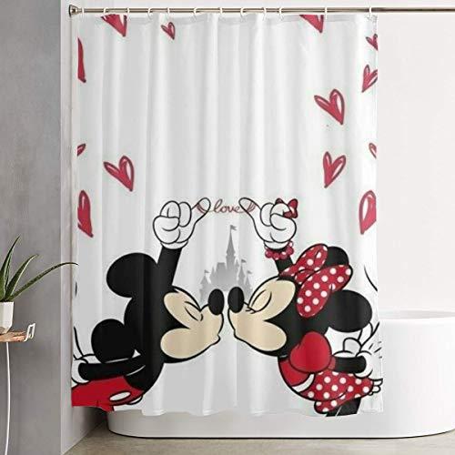Duwamesva Duschvorhang, Mickey Minnie Kunstdruck, Polyesterstoff, Badezimmerdekoration, Kollektion mit Haken, 152 x 183 cm