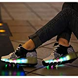 SXFYWYM 7 Couleurs Clignotant LED Double Roues Chaussures À roulettes Techniques Sport en Plein Air Cross Trainers Vibration Clignotant Gymnastique Baskets