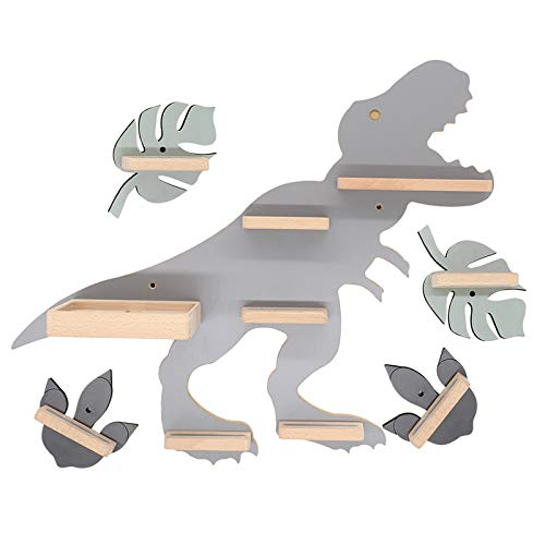 BOARTI Dinosaurier Kollektion 5-teilig Kinder Regal mit T-Rex Dino small in Grau, 2 Footprints und 2 Blättern - geeignet für die Toniebox und ca. 45 Tonies - zum Spielen und Sammeln