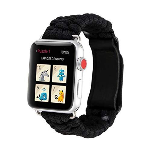 Correa de nailon para Apple Watch Band 44mm 40mm Para Iwatch Band 42mm 38mm Velcro Band Pulsera para Apple Watch Series 6 SE 5 4 3 42mm-negro, 38mm o 40mm
