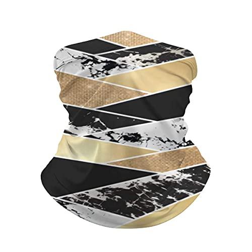 asdew987 Oro Negro Blanco Brillo Mármol Geométrico Art Cuello Polaina Cara Máscara Bandana Cuello Calentador Frío a prueba de viento Ligero Hielo Seda Bufanda Para Hombres Mujeres