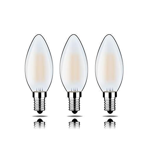 LED-Lampe, analoge herkömmliche Lampe, Milchglas, dimmbar, DC12V, 2700K, E14-Lampenhalter, 6 Watt, Helligkeit 500LM, ersetzen 50W-Glühlampe,3er-Pack [Energieklasse A++] MEHRWEG C35J-12V-E14-6WMS