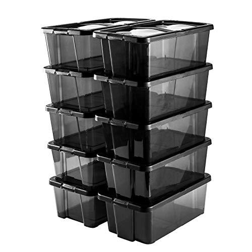 Gr8 Home - Cajas de zapatos apilables de plástico para guardar juguetes, con tapa, color negro, Set Of 10