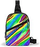 Bolso bandolera para el día del arco iris, bandolera para el hombro, para exteriores, senderismo, viajes, bolsa de bolsillo personal para mujeres, hombres, resistencia al agua
