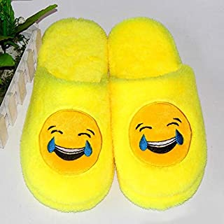 YANGLAN Emoji winter cotton slippers soft casual flat shoes skin floor household and silent large size cotton mop Household slippers (Color : E, Size : (44-45))