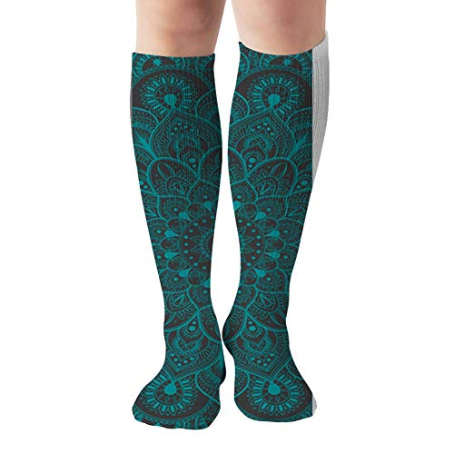 Set Yoga Mat Abstract Objects Compression Socks Women & Men, Best Athletic & Medical Running Flight Travel Pregnant 19.68 Inch