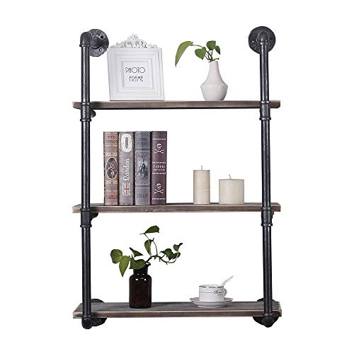 Industrial Pipe Shelving Wall Mounted24in Rustic Metal Floating ShelvesSteampunk Real Wood Book ShelvesWall Shelf Unit Bookshelf Hanging Wall ShelvesFarmhouse Kitchen Bar Shelving3 Tier