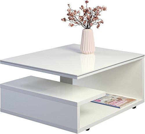 HomeTrends4You Tivoli 1 Tavolino basso, Legno, bianco, 77 x 60 x 39 cm