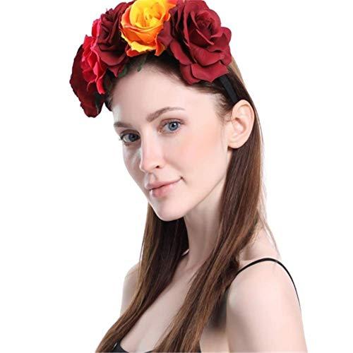 CHUAGNQI Mehr zarte Farbe Blume Haarschmuck Halloween Adventskranz Stirnband stieg Mischgewebe Simulation