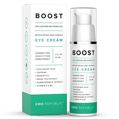 Caffeine Eye Cream - Organic Eye Cream for Dark Circles and Puffiness - Hyaluronic and Kojic Acid, Probiotics, Vitamins E B5 - Hydrating Eye Cream - Coffee Bean Under Eye Cream Dark Eye Circle