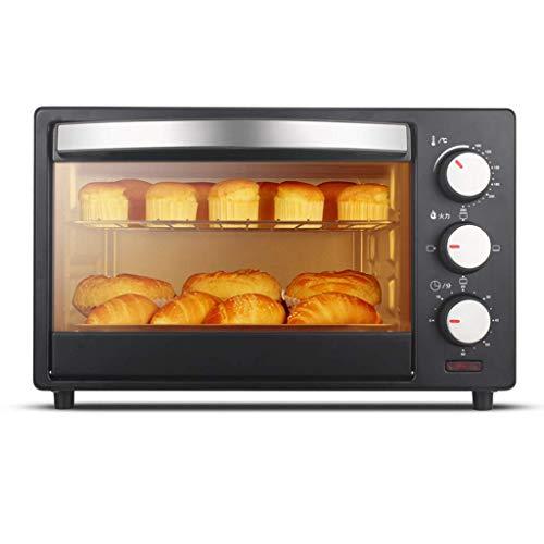 Qinf 20L Mini-Ofen 3 Heizmethoden Einstellbare Temperatur 0-250 ° C und 60 Minuten Timer Haushalt Multifunktions-Kuchenbrot Süßkartoffel-Elektroofen Tür aus gehärtetem Glas mit Zubehör 1360W