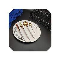 4本/ 24PCS 304ステンレススチールゴールドカトラリーフォークスプーンナイフ銀食器スプーンキッチン食器セット、4Pcs1