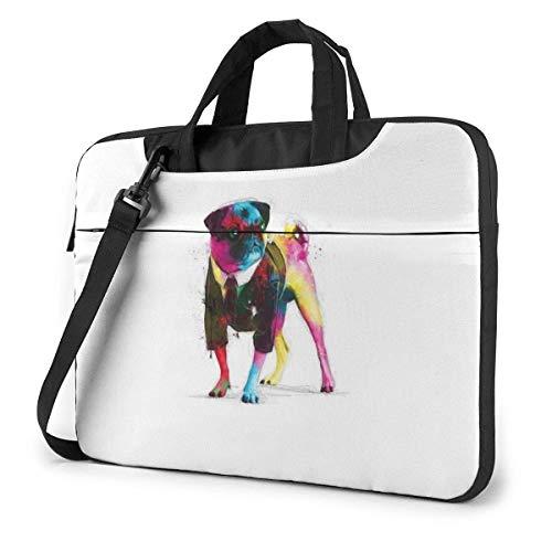 AOOEDM Funda para ordenador portátil Funda para bolsa de ordenador, colorido perro multifuncional impermeable viaje tableta hombro maletín a prueba de golpesg Bolso en 13 14 15,6 pulgadas