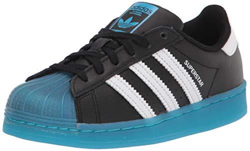 adidas Originals Tenis Superstar para niños, (Negro/Blanco/Cian señal), 34 EU