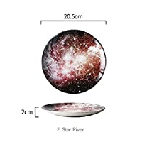 JJKEDW 8インチの星空宇宙景観プレートセット陶磁器食器デザートステーキパンディナープレート皿台所装飾を設定します。 (Style : F. Galaxy)