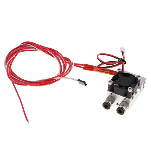 SM SunniMix Extremo Caliente De La Impresora 3D 2 En 1 hacia Fuera Extrusor De Doble Color 12V / 24V con Ventilador De Refrigeración