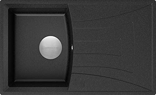 Spülbecken Graphit 77 x 47 cm, Granitspüle + Siphon Premium, Küchenspüle ab 45er Unterschrank, Einbauspüle von Primagran