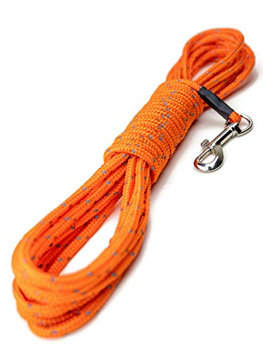 Mighty Paw Check Cord   Light Weight 30 Foot Dog Training Leash. Durable, Weather Resistant Climbers' Rope with Reflective Stitching. Perfect for Training, Swimming, Hunting, Camping. (Orange)