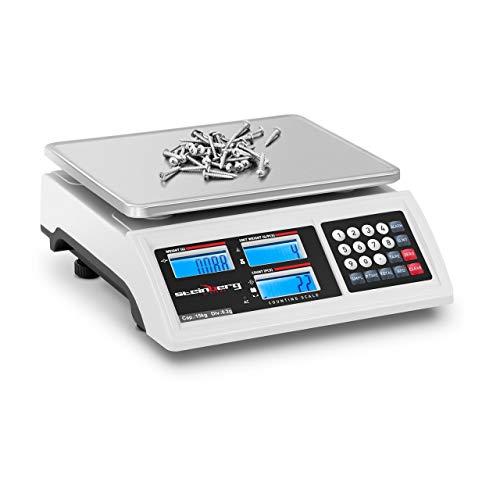 Steinberg Systems Balanza Cuentapiezas Báscula Digital SBS-ZW-1502 (Rango de pesaje: 1 g - 15 kg, Precisión: 0,2 g, Plato de 22,8 x 28 cm, Batería 80 h)