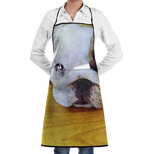 Delantal de chef con diseño de bozal de Bulldog para mujeres y hombres, divertido delantal de barbacoa, delantal ajustable con bolsillos