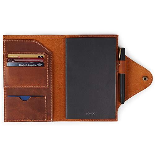 Londo Portafolios de Cuero Genuino con Cuaderno y Cierre a Presión (Camel, Medio) (OTTO416)